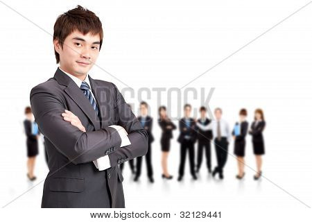 successful business man and business team working