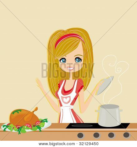 Beautiful lady cooking in the kitchen