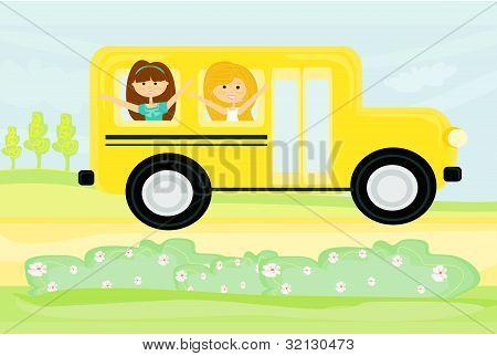 a school bus heading to school with happy children