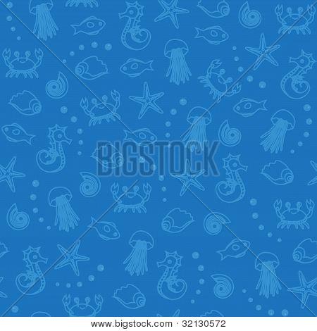 Sea life seamless pattern in blue