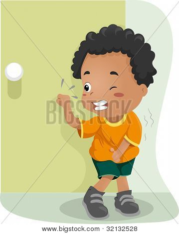 Illustration of a Kid Holding His Pee