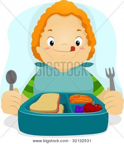 Illustratie van een jong geitje voorbereiden om te eten zijn Lunch