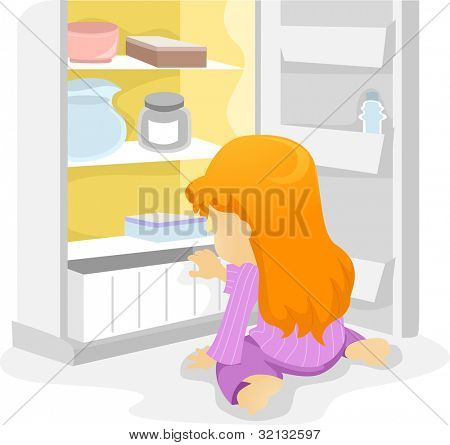 Illustration of a Kid Getting a Midnight Snack