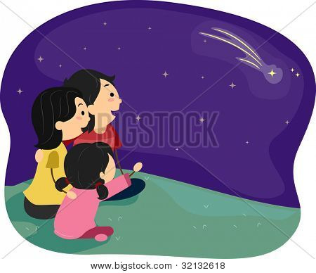 Illustration of a Family Stargazing