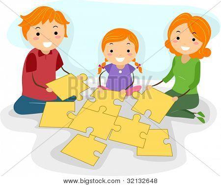 Ilustración de una familia para resolver un rompecabezas juntos