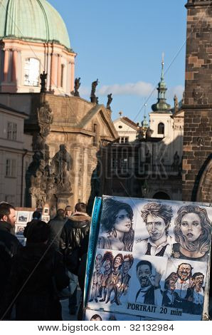 Caricature Drawing On Charles Bridge, Prague..