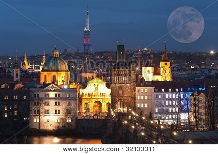 Night Panorama Of Prague, Czech Republic..