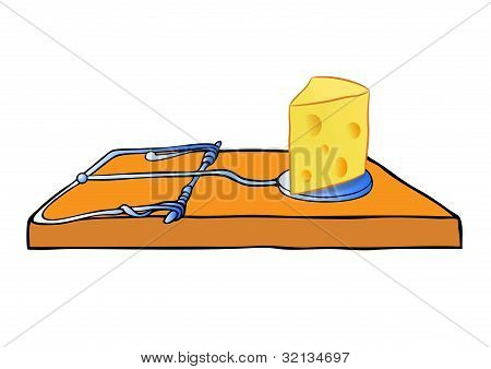 Vector Mousetrap With Cheese - Trap
