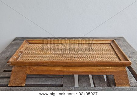 Small Wicker Wood Table