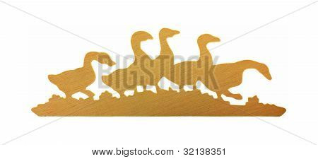 Flock Wooden Ducks