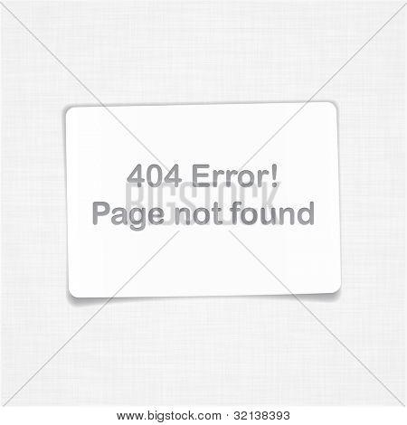 404-Fehler. Seite nicht gefunden. Vektor Blatt Papier.
