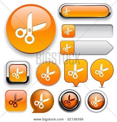 Cut orange design elements for website or app. Vector eps10.