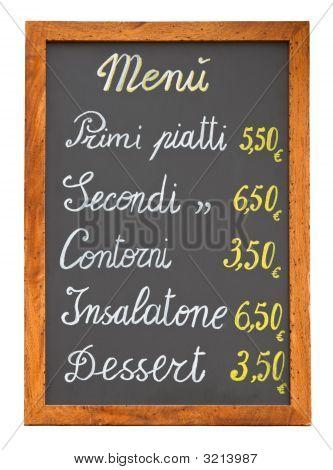 Italian Restaurant Menu Chalkboard Cutout