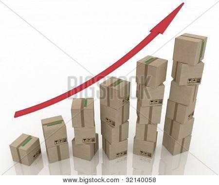 Diagram of increasing exportation. 3d rendered illustration.