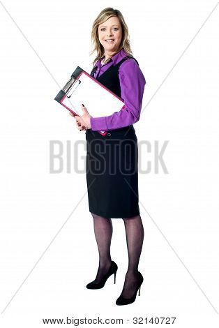 Smiling Business Woman With Documents