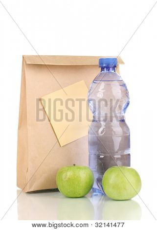 School lunch isolated on white