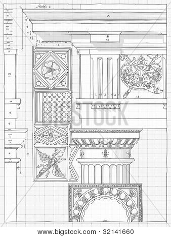 "Blueprint - hand draw sketch doric architectural order based ""The Five Orders of Architecture"" is a book on architecture by Giacomo Barozzi da Vignola from 1593. Vector illustration."