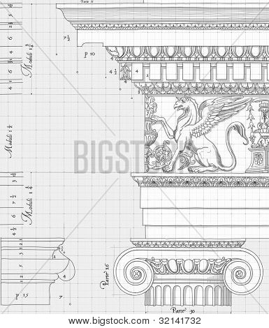 "Blueprint - hand draw sketch ionic architectural order based ""The Five Orders of Architecture"" is a book on architecture by Giacomo Barozzi da Vignola from 1593. Vector illustration."