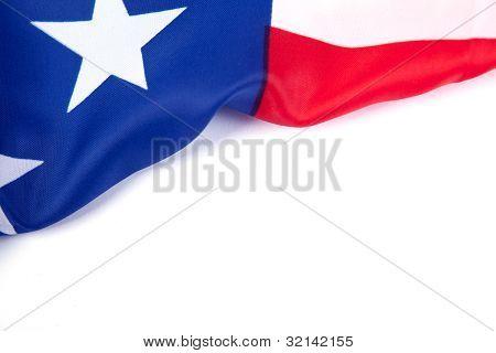 Bandeira americana sobre o papel em branco