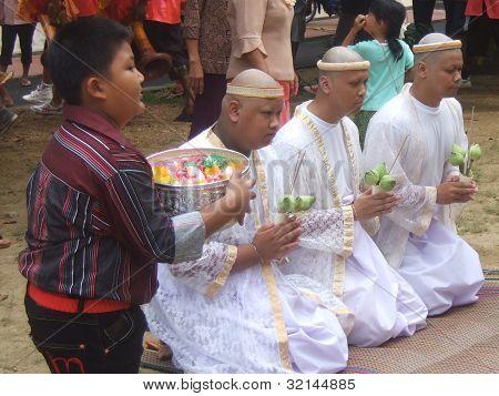 initiation ceremony of three new monks