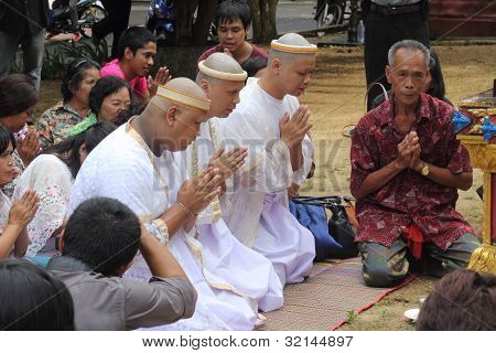 initiation ceremony of three new monks