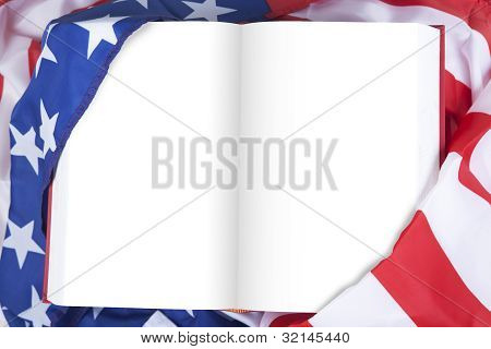 Blank Book Wrapped By American Flag