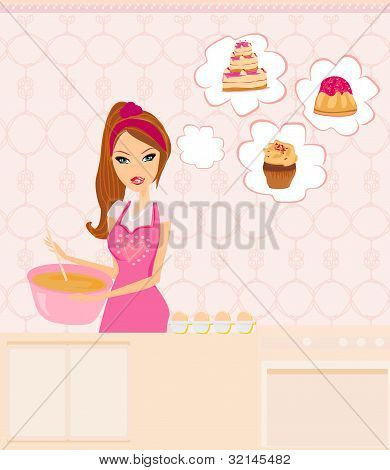 beautiful Housewife cooking dessert