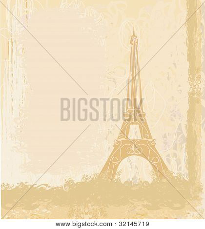 retro vintage Eiffel en tarjeta París, vector illustration