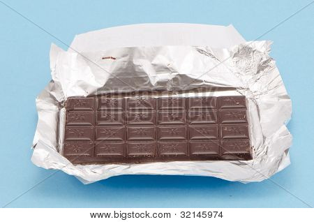 Dark Chocolate Brick Isolated On White Background