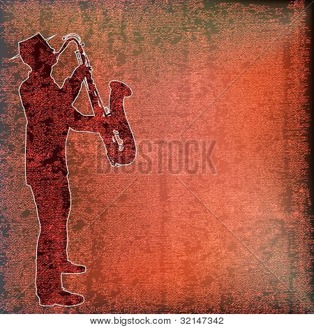 Saxophone Player, Brass Background