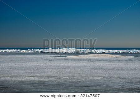 Ice Hummocks On Lake Ladoga. Early Spring.