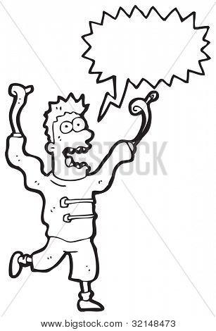 cartoon crazy madman with speech bubble