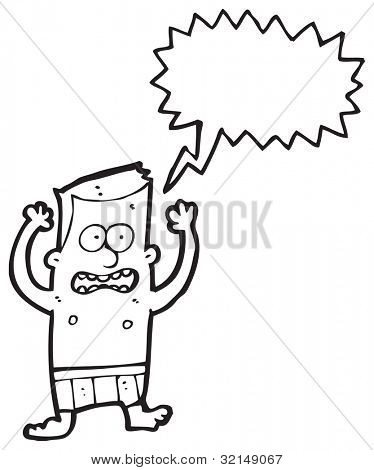 cartoon man in underpants panicking