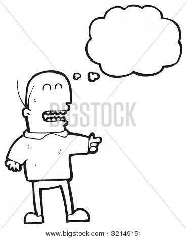 Cartoon Glatze Mann zeigen und lachen