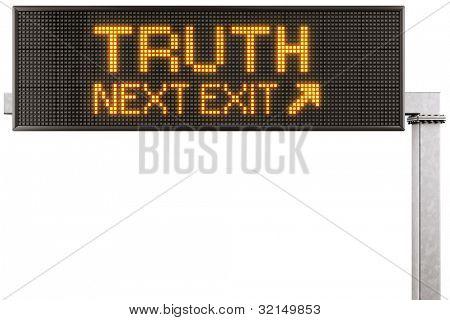 """renderização 3D de um sinal de estrada digital moderna com a """"Verdade"""", escrito por ele"""