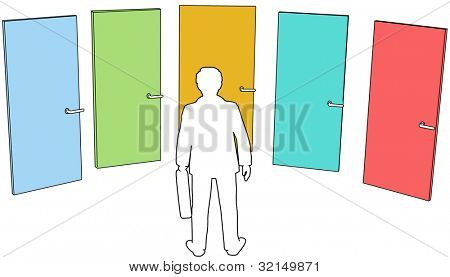 Business person chooses among door five colors choices to enter future opportunity