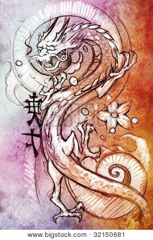 Tattoo kunst, schets van een Japanse draak over kleurrijke papier