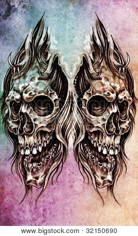 Sketch of tattoo art, skull head illustration, over colorful paper