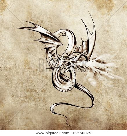 Middeleeuwse dragon figuur. Schets van de tatoeage kunst over antieke papier