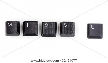 Keyboard keys saying miss u isolated on white