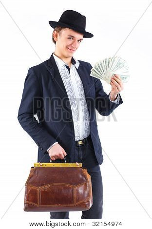 Young man with money