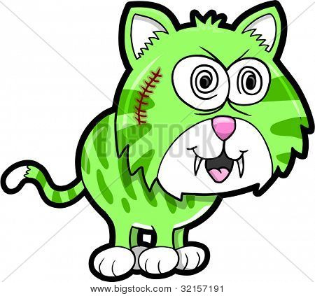 Wild Crazy Tiger Animal Vector Illustration Art