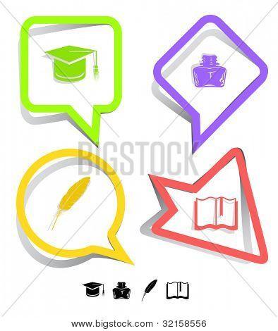 Conjunto de iconos de educación. Tapa de la graduación, libro, tintero, pluma. Pegatinas de papel. Ilustración de la trama.