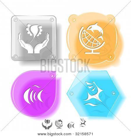 Animal icon set. Deer, fish, bird in hands, globe and shamoo.  Glass buttons. Raster illustration.