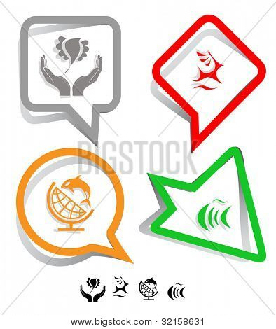 Animal icon set. Deer, fish, bird in hands, globe and shamoo.  Paper stickers. Raster illustration.
