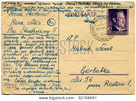 POLAND - CIRCA 8 NOV 1944 - a postcard with postal stamp showing Adolf Hitler, with Deutsches Reich General Gouvernement inscription - Poland, 1944