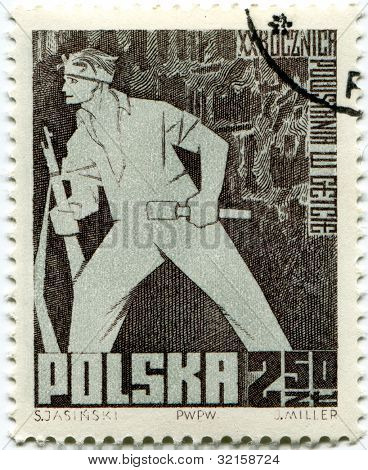 POLAND, CIRCA 1963- Polish cancelled stamp for celebrating 20th anniversary of Warsaw Ghetto Uprising, Poland, 1963