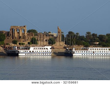 Ships In Front Of  Kom Ombo