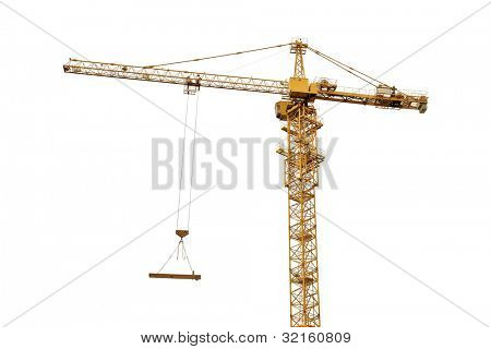 yellow hoisting crane isolate on white background