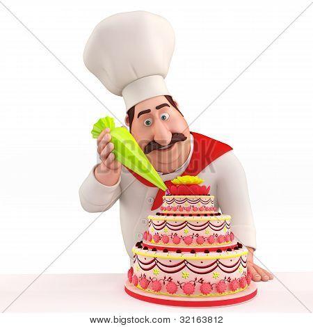 Chef decorating cake